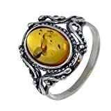 """Sterling Silver and Baltic Honey Amber Ring """"Georgine"""""""