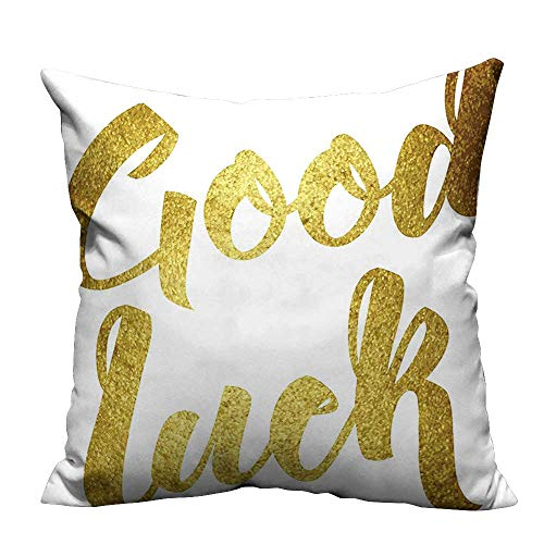 - alsohome Pillowcase with Zipper Party Good Luck Wish Note Hand Written Lettering Greeting Card Concept Gold Cushion Cotton and Linen21.5x21.5 inch(Double-Sided Printing)