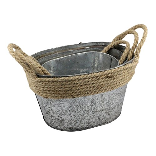 Stonebriar Stackable 3pc Galvanized Metal Oval Basket Set with Wrapped Rope Trim and Rope Handles, Farmhouse Home Decor, Decorative Storage for Living Room, Bathroom, Office, and Kitchen (Small Cabinet Oval Accent)