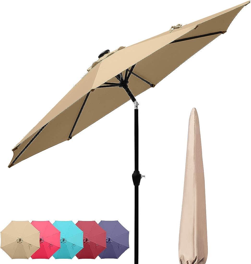 Quictent 9Ft 7.5Ft Patio Umbrella Outdoor Garden Table Canopy Market Umbrella Cover Pool Backyard