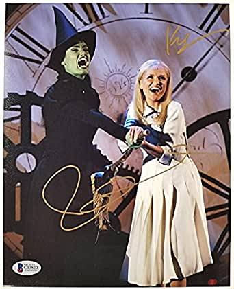 KRISTIN CHENOWETH + IDINA MENZEL Signed 8x10 Photo WICKED Auto BAS Beckett COA