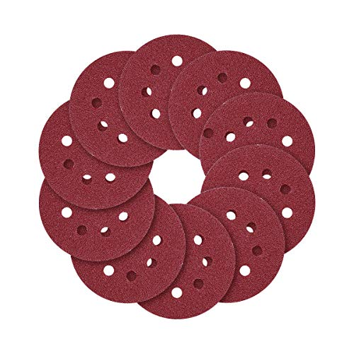 5-Inch 8-Hole Hook and Loop Sanding Discs, 40/80/120/240/320/600/800 Assorted Grits Sandpaper - Pack of 70 ()