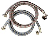 CompatibleBrands Premium Stainless Steel Washing Machine Hoses with 90 Degree Elbow, 5 Ft Burst Proof (2 Pack) Red and Blue Striped Water Connection