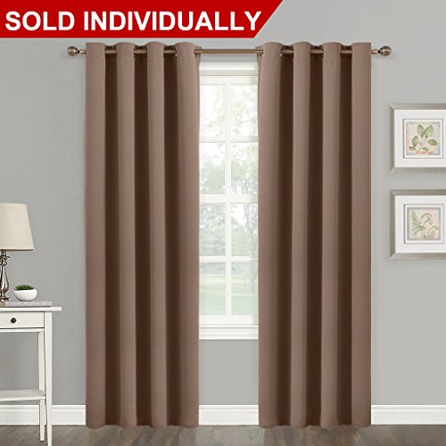 Grommet Top Blackout Curtain Panel - (Cappuccino Color) Thermal Insulated Room Darkening Drape for Villa / Apartment / Rental Room by NICETOWN, 52 inch Wide by 84 Inch Long, 1 Piece
