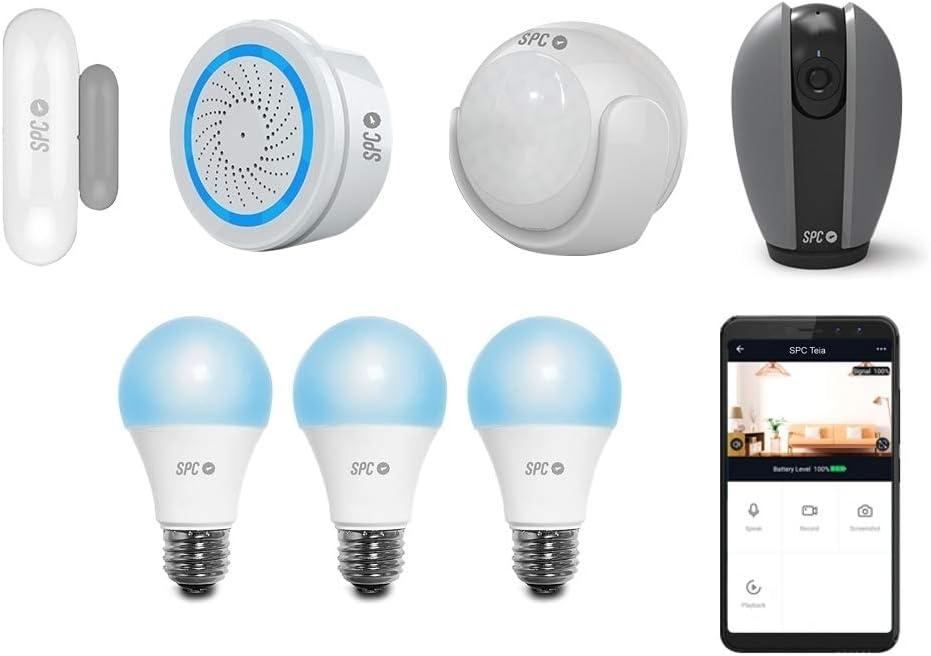 SPC 6910K2 Security Starter Kit (2 sensores: Movimiento y Puertas/Ventanas, Alarma) + Cámara Interior 360º Smart Bombillas Inteligentes, Compatible con Amazon Alexa y Google Home: Spc-Internet: Amazon.es: Electrónica