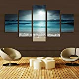 H.COZY 5 Piece Art modern wall decoration of the home painting of the canvas prints from photos landscape of sea with beach (No Frame) Unframed far146 50 inch x30 inch