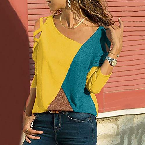 scollo Top Girocollo tondo a contrasto The Summer colore Geilisungren lunga lunga shirt Fit a manica Blouse Shirt con Top Yellow Fashion T cuciture manica Youth Leisure zOqv6w