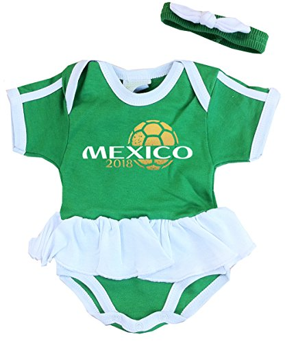 Infant Jersey - Pam GM Mexico Baby Girls Soccer Bodysuit World Cup 2018