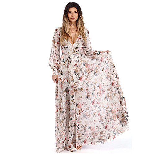 (TOTOD Women Dress Long Sleeve V Neck Floral Print Long Maxi Evening Party Dress,Valentine's Day Sale (Beige, S))