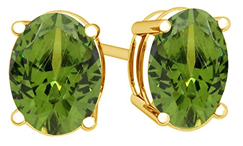 Oval Shape Stud Earrings In 14K Yellow Gold Over Sterling Silver 4 Ct