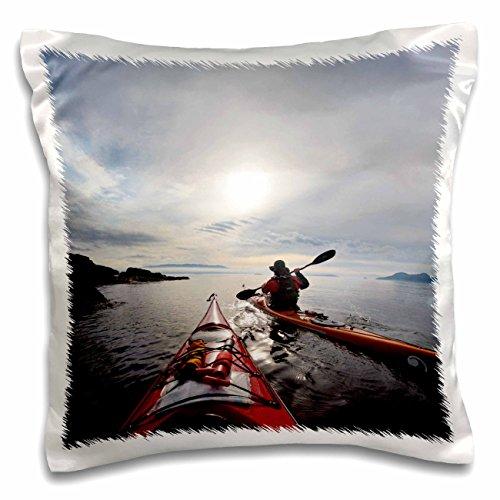 - Danita Delimont - Kayaking - USA, Washington, San Juan Islands. Sea kayakers, shore- US48 GLU0322 - Gary Luhm - 16x16 inch Pillow Case (pc_147887_1)