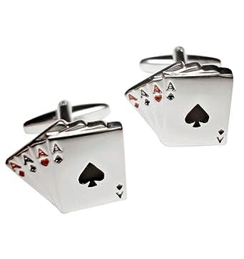 JOSVIL Gemelos para camisa rodio antialérgico con forma de Póker ...