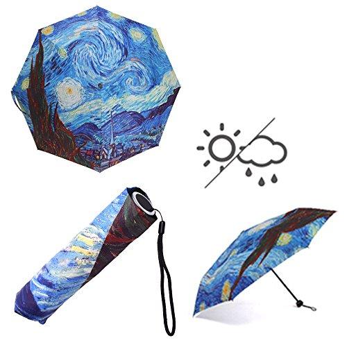 Van Gogh Umbrella - KLOUD City 3 Section Folding Manual UV Protect Sun Anti-UV Parasol Rain Umbrella (Starry Night)
