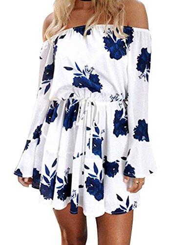 Tables Air Lift - Yobecho Women Summer Off Shoulder Strapless Floral Print Pleated Dresses(Fake Seller:yujinxiu) (M, X-Blue)