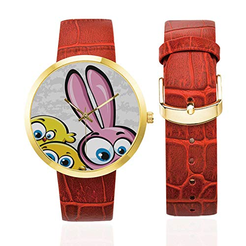 Funny Fashion Women's Golden Leather Strap Watch,Bunny with Chickens Humor Childish Celebration Rabbit Animal Characters Image Decorative for Womans,Case Diameter: 40mm (Best Chickens For Tick Control)