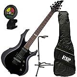 ESP LTD F-10 BLK F-Shape Electric Guitar Black Kit w/Gig Bag, Tuner, and Stand