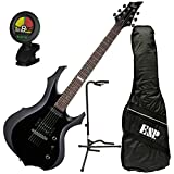 ESP LTD F-10 BLK F-Shape Electric Guitar Black Kit w/Gig Bag, Tuner, and Stand