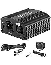 Neewer 1-Canal 48V Phantom Fuente de Alimentación Power Supply con Adaptador y Un Cable de XLR Audio para Cualquier Micrófono Condensador Equipo de Grabación Musical(Negro)