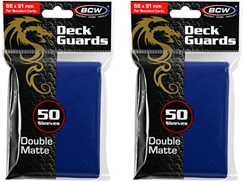 - BCW 100ct Deck Guard BLUE MATTE Finish for Stardard Size Collectable Cards - Deck Protector Sleeves [2-Pack Bundle]