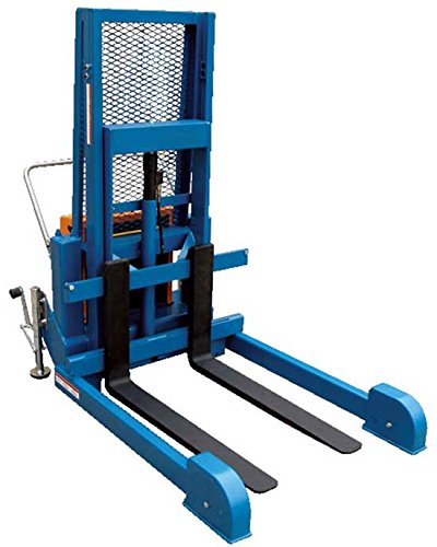 Pallet Stacker with Adjustable Outriggers - BLL-PMPS Series; Operation: Air/Oil; Capacity (LBS): 1,200; Fork Size (W x L): 4'' x 36''; Service Range: 3'' to 50''; Casters: 8'' x 2'' Swivel Phenolic