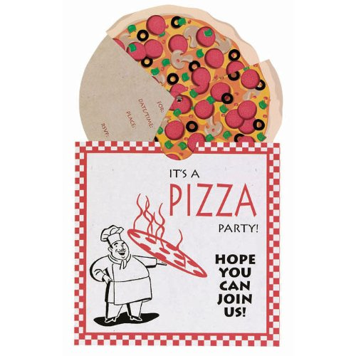 amazon com pizza party invitations package of 8 toys games