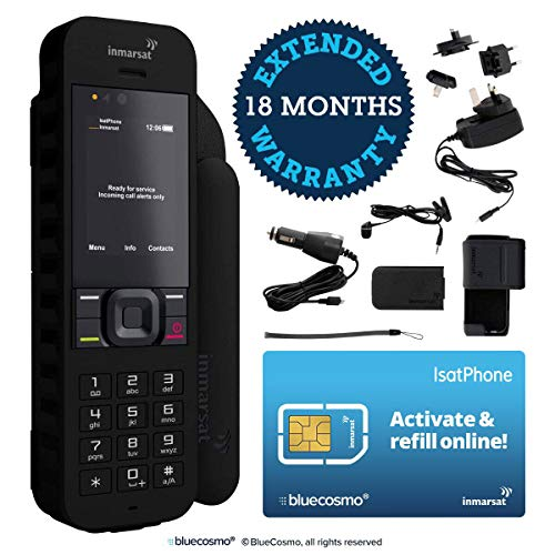 BlueCosmo Inmarsat IsatPhone 2.1 Satellite Phone Kit (SIM Included) - Global Coverage - Voice, SMS, GPS Tracking, Emergency SOS - Prepaid and Monthly Service Plan Options (Best Prepaid Mobile Hotspot 2019)