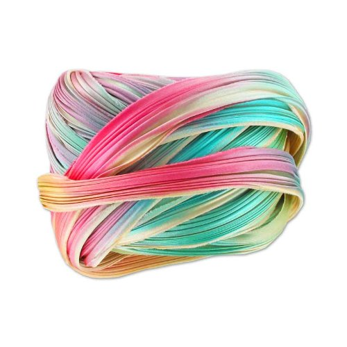 Silk ribbon Shibori Ecru Borealis x10cm N/A
