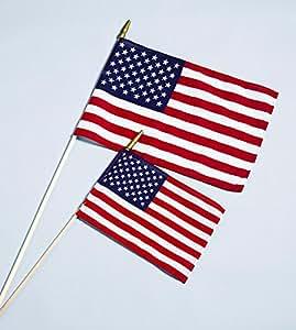 "American Handheld Stick Flag - Cotton Hemmed US Flag 12""x18"""