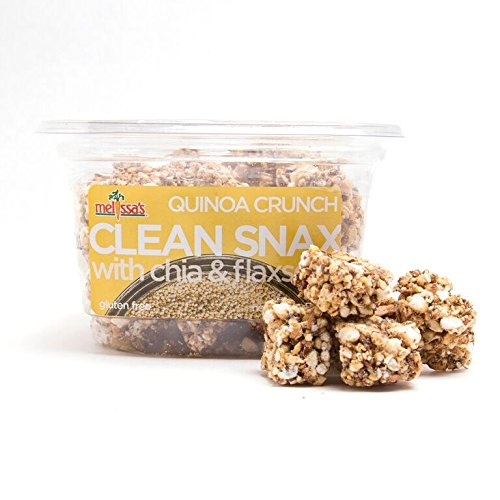 - Melissa's Clean Snax Crunch with Chia and Flax Seed Quinoa 5 Ounce, Bite-Sized Gluten Free Snack Squares with Chia & Flaxseed, Low Fat Low Sodium No Artificial Ingredients