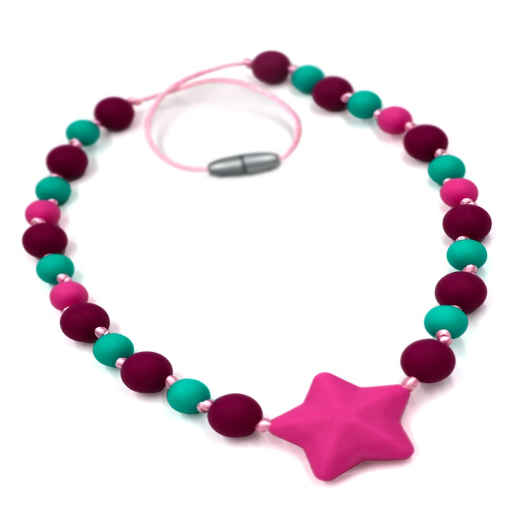 Silicone Chew Necklace, Sensory Chewing Necklace Oral Motor Aide Star Rainbow Chewy Jewelry Teether Toys for Kids with Autism ADHD Special Needs or Teething Baby - by Maberry (Purple)