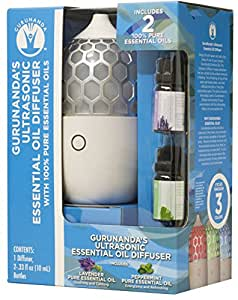 Gurunanda Aromatherapy Essential Oil Diffuser 7 Colors – Honeycomb, Waterless Auto Shut-off with two 10 ML Lavender and Peppermint Essential Oil