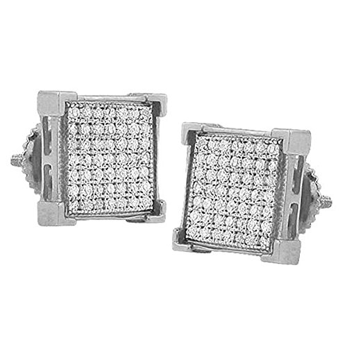 0.15 Carat (ctw) Sterling Silver Real White Diamond Square Shape V Prong Mens Hip Hop Iced Stud Earrings by DazzlingRock Collection