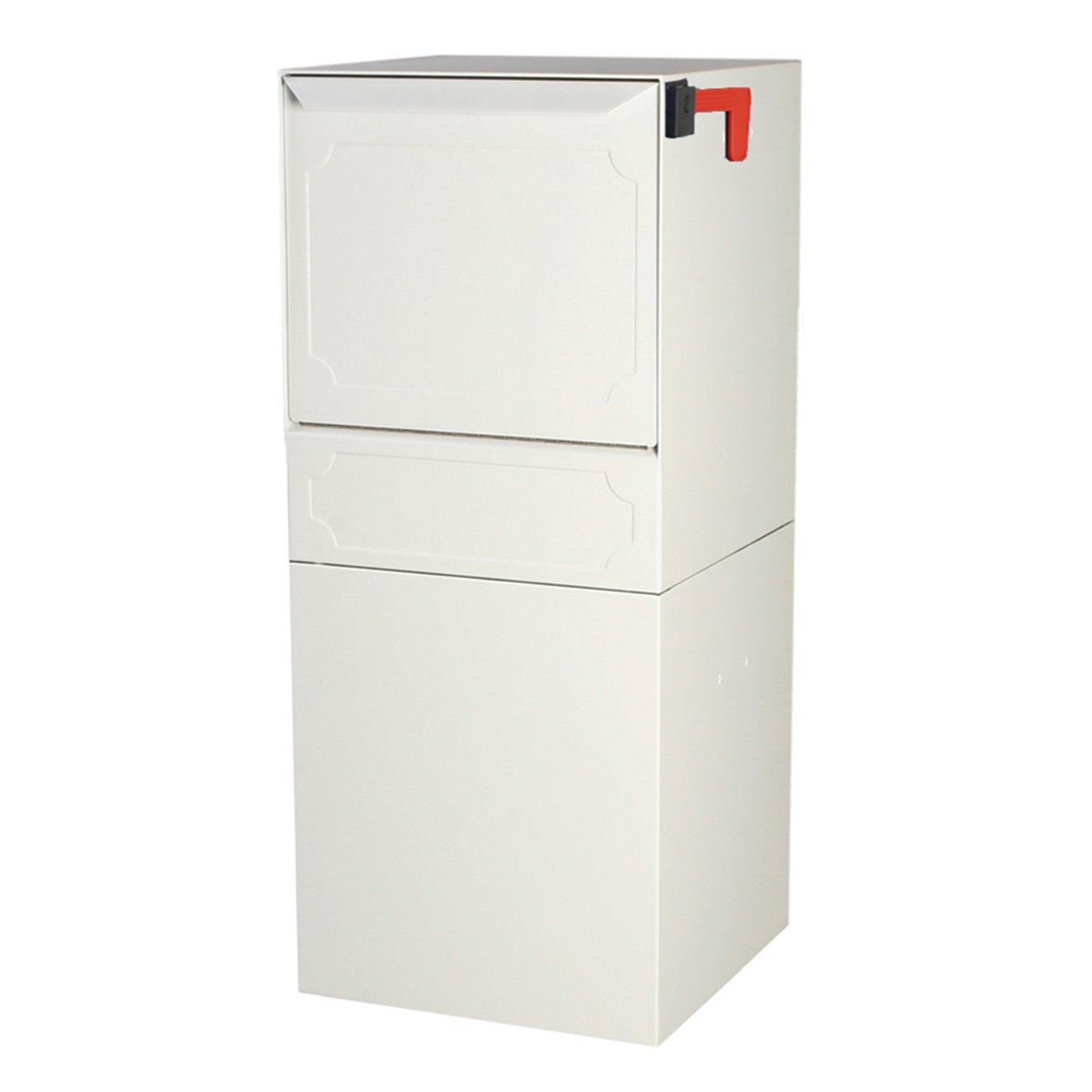 dVault® Parcel Protector Vault DVU0050 Locking Post/Column Mount Mailbox (White)