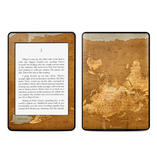 Upside Down Map Design Protective Decal Skin Sticker for Amazon Kindle Paperwhite eBook Reader (2-point - Down Faceplate