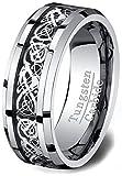 Mens Wedding Bands Tungsten Ring High Polished Celtic Dragon Design Beveled Edge 8mm Comfort Fit (12)