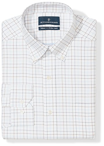 - BUTTONED DOWN Men's Tailored Fit Button-Collar Pattern Non-Iron Dress Shirt, White/Brown/Blue Tattersall Overcheck, 20
