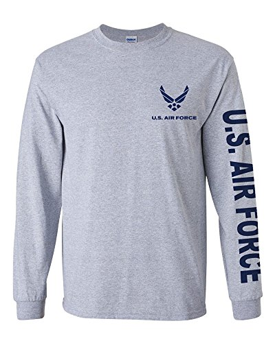 U.S. Air Force long sleeve T-shirt. Navy Blue (XL, Sports Grey)