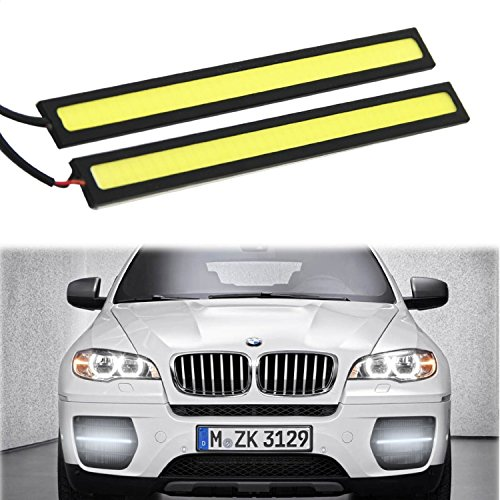 2-Piece Waterproof Aluminum High Power 6W 6000K Xenon Slim COB LED DRL Daylight Driving Daytime Running Light for All Vehicles with 12V Power (White)