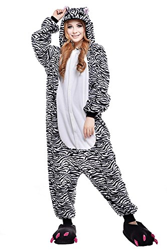 Adult Unisex Animal Sleepsuit Zebra Halloween Cosplay Costume Pajamas XL -