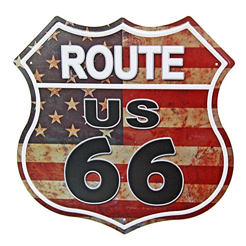 New Deco Route US Road 66 Polygon Metal Tin Sign Vintage Retro Wall Decor Art - Route 66 Sign