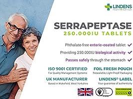 Lindens Serrapeptase 250 000 UI de gran potencia en comprimidos ...