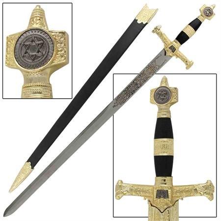 King Solomon Sword with Hard Scabbard - Black Handle