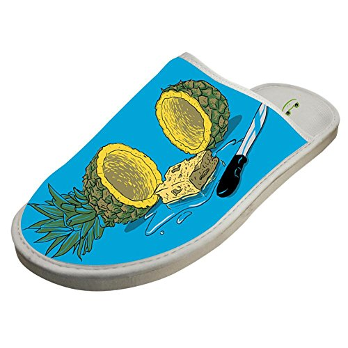 pineapple sea Stylish Flat House Slippers in lives a under the Cotton ZeZe Design Shoes White Who 4xAYYz