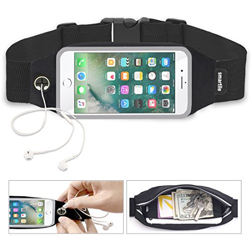 Universal Sports Running Workout Fitness Belt Fanny Waist Pack Sweatproof for iPhone 7, 7 Plus, 6s, 6 Plus, Samsung Galaxy mobiles, and more. Home button of iPhone Works Access View Window [Black]