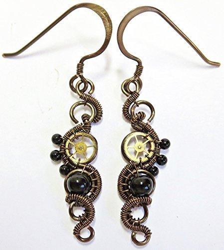 Onyx & Bronze Woven Steampunk Earrings - Steampunk (Onyx Heather)