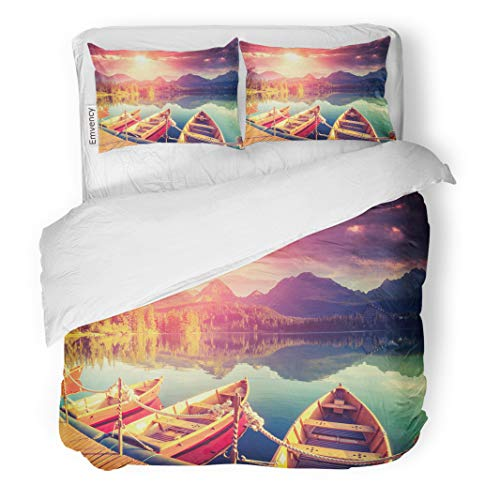 Semtomn Decor Duvet Cover Set Twin Size Majestic Mountain Lake in National Park High Tatra Dramatic 3 Piece Brushed Microfiber Fabric Print Bedding Set Cover -