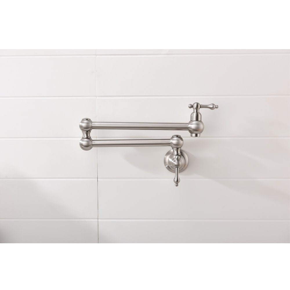 VOKIM Pot Filler Commercial Double Handle Wall Mount Brushed Nickel Pot Filler Faucet, Brushed Nickel Kitchen Faucet by VOKIM (Image #2)