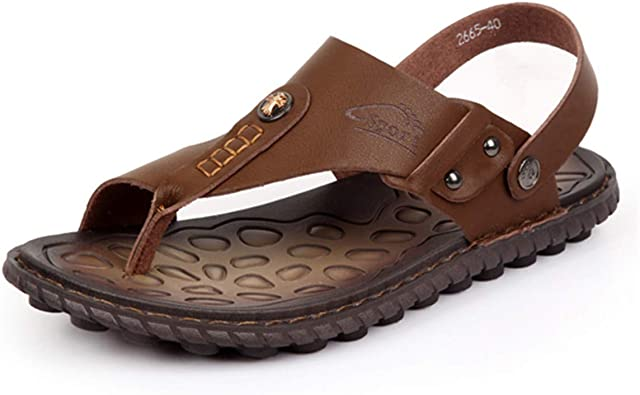 Men/'s Casual Leather Sandals Summer Beach Flip Flops Slip On Shoes Slippers Size
