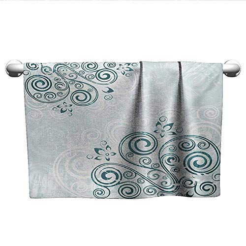 Vintage Green Jade (xixiBO Christmas Towel W24 x L8 Floral,Vintage Inspired Swirled Lines Leaves Petals Shabby Classic Image Print,Baby Blue Jade Green Oversized, Bright Colors)