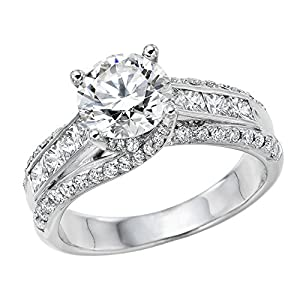 GIA Certified 14k white-gold Round Cut Diamond Engagement Ring (1.95 cttw, E Color, VVS2 Clarity)
